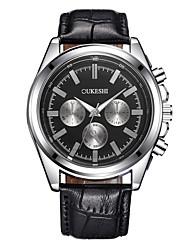 baratos -Homens Relógio de Moda Relógio de Pulso Chinês Quartzo Impermeável Couro Banda Casual Preta Marrom