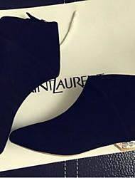 Недорогие -Жен. Обувь Полиуретан Зима Удобная обувь Ботинки На плоской подошве Заостренный носок / Закрытый мыс Ботинки Черный / Хаки