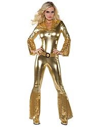 economico -Vintage Hippie Anni '70 Costume Per donna Vestito da Serata Elegante Oro Vintage Cosplay Manica lunga Svasata Slip