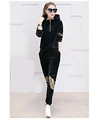 cheap -Women's Daily Casual Winter T-Shirt Dress Suits,Solid Round Neck Long Sleeve Silk