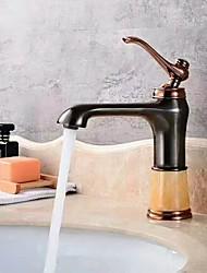 abordables -Moderne Décoration artistique/Rétro Set de centre Jet pluie Soupape céramique Mitigeur un trou Or rose, Robinet lavabo