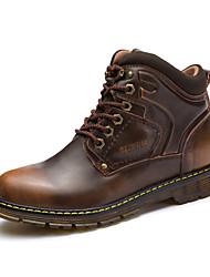 Masculino sapatos Pele Inverno Outono Conforto Botas Botas Cano Médio para Casual Preto Azul Castanho Claro