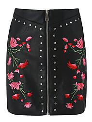 preiswerte -Damen Chinoiserie Bodycon Röcke - Stickerei, Niete