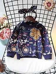 baratos -Para Meninas Camiseta Geométrica Primavera Outono Algodão Poliéster Manga Longa Simples Branco Azul Marinha