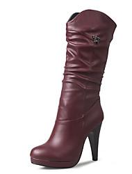 baratos -Mulheres Sapatos Courino Inverno Outono Botas da Moda Curta/Ankle Botas Salto Agulha Ponta Redonda Botas Cano Alto Botas Cano Médio