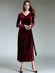 cheap -Women's Casual/Daily Simple Sheath Dress,Solid V Neck Midi Long Sleeve Rayon Winter Fall High Waist Micro-elastic Opaque
