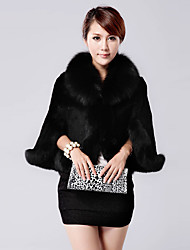 cheap -Women's Daily Sophisticated Winter Fall Fur Coat,Solid Stand Long Sleeve Regular Faux Fur Polyester
