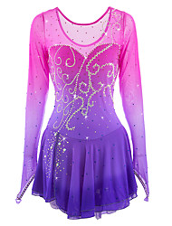 Figure Skating Dress Women's Girls' Ice Skating Dress Pink / Purple Spandex Rhinestone High Elasticity Performance Skating Wear Handmade