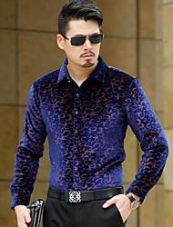 Недорогие -Для мужчин На каждый день Рубашка Рубашечный воротник,Уличный стиль С принтом Длинные рукава,Другое