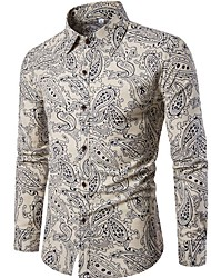cheap -Men's Going out Club Vintage Active Chinoiserie All Seasons Shirt,Floral Standing Collar Long Sleeve Linen Polyester Thin