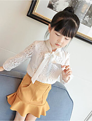 cheap -Girls' Solid Clothing Set,Cotton Polyester Spring Summer Simple White