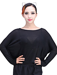 cheap -Latin Dance Tops Women's Performance Knitwear Pockets Long Sleeve Natural Tops