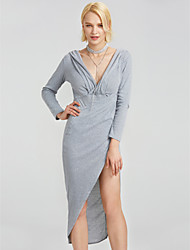 cheap -Women's Club Sexy Skater Dress,Solid V Neck Maxi Long Sleeves Silk Summer High Rise Micro-elastic Translucent