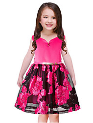 cheap -Girl's Going out Casual/Daily Solid Flower/Floral Embroidered Dress,Cotton Polyester Spring, Fall, Winter, Summer All Seasons Sleeveless