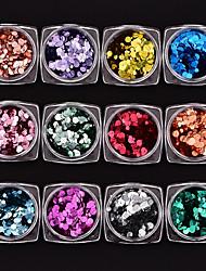 economico -12 pezzi Con lustrini Multicolore Nail Art Design