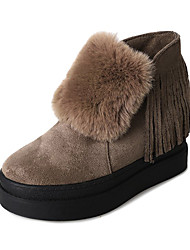 Damer Sko Nubuck Læder Fleece Vinter Forår Snestøvler Støvle Støvler Creepers Rund Tå Lukket Tå Ankelstøvler for Afslappet Formelt Sort