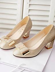 preiswerte -Damen Schuhe PU Sommer Komfort Sandalen Walking Block Ferse Peep Toe Elastisch Für Normal Gold Schwarz