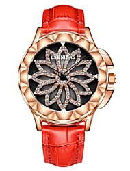 cheap -Women's Wrist Watch Japanese Chronograph / Water Resistant / Water Proof / Hollow Engraving Genuine Leather Band Flower / Fashion / Elegant Black / White / Red / Stainless Steel / Two Years