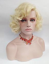 Kvinder Syntetiske parykker Medium Krøllet Blond Side del Naturlig paryk Kostumeparyk