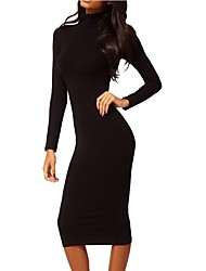 cheap -Women's Party Work Vintage Casual Bodycon Sheath Dress,Solid Turtleneck Midi Long Sleeve Cotton Polyester Spandex All Season Fall High