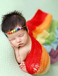Baby Unisex Tøjsæt Fest Fødselsdag Farveblok,Polyester Alle årstider Uden ærmer Sødt Rød Lyserød