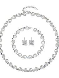 abordables -Mujer Zirconia Cúbica Conjunto de joyas - Perla Artificial, Zirconio, Plateado Elegante Incluir Blanco Para Boda / Fiesta de Noche / Pendientes