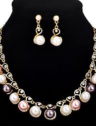 economico -Per donna Orecchini a goccia Collana Perle finte Diamante sintetico Europeo Dolce Di tendenza Matrimonio Feste Lega 1 collana Orecchini