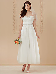 cheap -A-Line Sweetheart Neckline Ankle Length Tulle / Corded Lace Made-To-Measure Wedding Dresses with Beading / Appliques / Sashes / Ribbons by LAN TING BRIDE® / Open Back