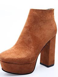 Damer Sko Nubuck Læder Vinter Forår Modestøvler Støvler Kraftige Hæle Kvadratisk Tå Ankelstøvler for Afslappet Formelt Sort Kakifarvet