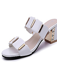 cheap -Women's Sandals Comfort PU Summer Casual Dress Comfort Plaid Chunky Heel White Black 2in-2 3/4in
