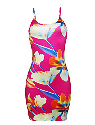 cheap -Women's Going out Casual/Daily Vintage Cute Sexy Sheath DressFloral Color Block Strap Mini Sleeveless Polyester Spring Summer Mid Rise