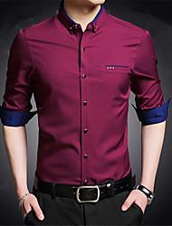 cheap -Men's Work Street chic Shirt,Color Block Shirt Collar Long Sleeve Others