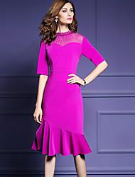 baratos -Mulheres Tamanhos Grandes Para Noite Moda de Rua Bainha Vestido - Franzido, Sólido Médio / Delgado