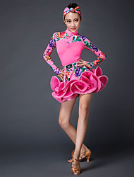 Latin Dance Outfits Performance Stretch Yarn Pattern / Print Long Sleeves Natural Skirts Top