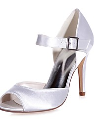 abordables -Femme Chaussures Satin Printemps Eté Escarpin Basique Chaussures de mariage Talon Aiguille Bout ouvert Boucle pour Mariage Soirée &