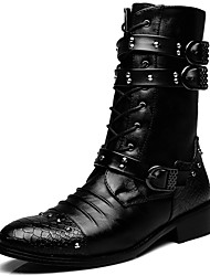 cheap -Men's Shoes Synthetic Winter Fall Combat Boots Motorcycle Boots Cowboy / Western Boots Boots Mid-Calf Boots for Casual Party & Evening