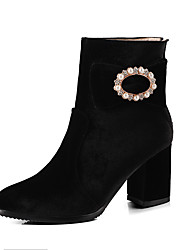 baratos -Feminino Sapatos Courino Inverno Botas da Moda Botas Salto Robusto Ponta Redonda Botas Curtas / Ankle Pérolas Sintéticas Gliter com Brilho