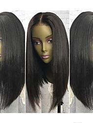 cheap -Human Hair Lace Front Wig Brazilian Hair Straight Bob Haircut Unprocessed 100% Virgin Natural Hairline Medium 130% Density Women's