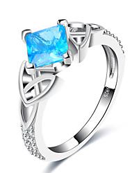 baratos -Mulheres Anéis Grossos Aquamarine sintética Formal Europeu Fashion Cobre Vidro Forma Geométrica Jóias Casamento Festa