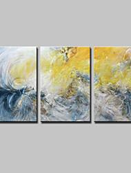 abordables -Pintada a mano Abstracto Horizontal,Simple Modern Lienzos Pintura al óleo pintada a colgar For Decoración hogareña Tres Paneles