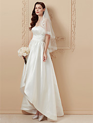 cheap -A-Line / Princess Strapless Asymmetrical Satin Made-To-Measure Wedding Dresses with Draping by LAN TING BRIDE® / Open Back