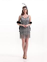 abordables -Gatsby le magnifique Années 20 Costume Femme Robes Robe de cocktail Robe à clapet Costume de Soirée Noir Rouge Vintage Cosplay Polyester