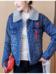 cheap -Women's Casual/Daily Simple Fall Denim Jacket,Solid Shirt Collar Long Sleeve Regular Cotton