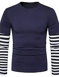 Masculino Camiseta Casual Moda de Rua Primavera Outono,Listrado Algodão Elastano Decote Redondo Manga Comprida Média