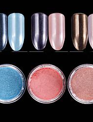 cheap -1pc Pastel Glitter Powder Light Pink Light Sky Blue Blushing Pink Nail Art Design