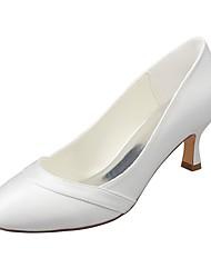 abordables -Femme Chaussures Satin Elastique Printemps / Automne Escarpin Basique Chaussures de mariage Talon Aiguille Bout rond Ivoire