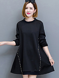 cheap -Women's Daily Vintage Loose Dress,Solid Round Neck Maxi Short Sleeve Cotton Acrylic Winter High Waist Micro-elastic Opaque