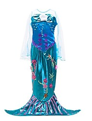 cheap -The Little Mermaid One Piece Dress Kid Halloween Festival / Holiday Halloween Costumes Purple Mermaid