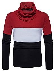 Herrer Afslappet Daglig Normal Pullover Farveblok Ternet,Rullekrave Langærmet Polyester Spandex Vinter Efterår Tyk Mikroelastisk