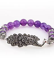 cheap -Women's Amethyst Crystal Strand Bracelet - Animals Vintage Circle Purple Bracelet For Gift Going out